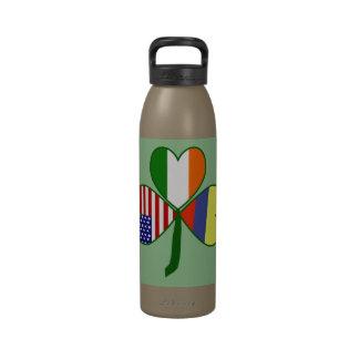 Fondo colombiano del verde del trébol botellas de beber