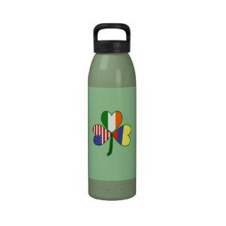 Fondo colombiano del verde del trébol botella de agua reutilizable