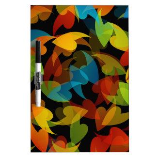 fondo coloreado arco iris con las hojas pizarras