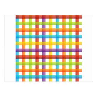 fondo coloreado de la tela a rayas postales