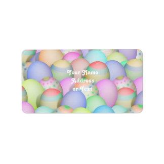 Fondo coloreado de los huevos de Pascua Etiquetas De Dirección