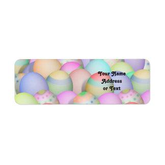Fondo coloreado de los huevos de Pascua Etiqueta De Remitente