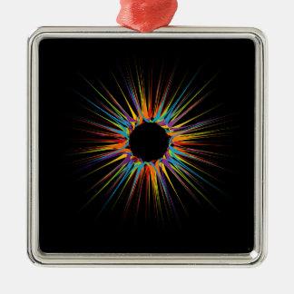 Fondo colorido abstracto adorno navideño cuadrado de metal