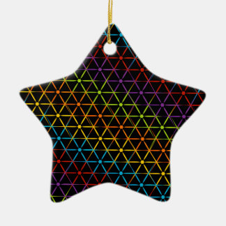 Fondo colorido abstracto adorno navideño de cerámica en forma de estrella