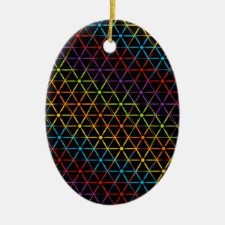Fondo colorido abstracto adorno navideño ovalado de cerámica