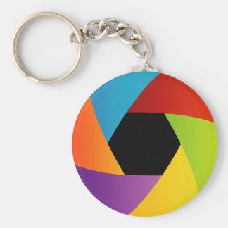 Fondo colorido de la abertura del obturador llavero personalizado
