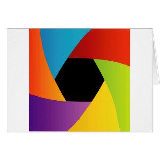 Fondo colorido de la abertura del obturador tarjeta de felicitación