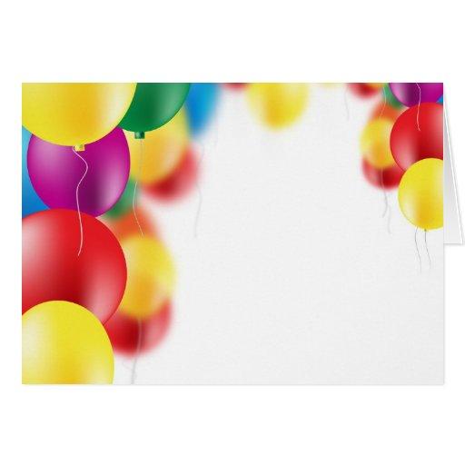 Fondo colorido de los globos tarjeta de felicitación