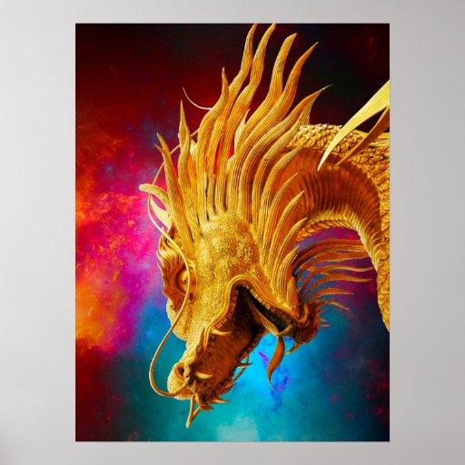 Fondo colorido de Tailandia del dragón de oro fres Posters