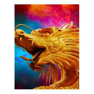 Fondo colorido de Tailandia del dragón de oro fres Postales