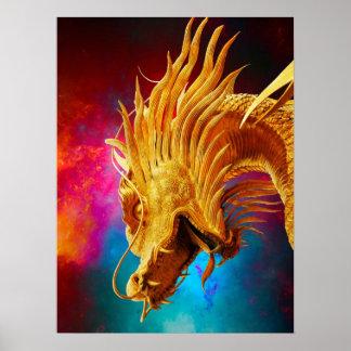 Fondo colorido de Tailandia del dragón de oro fres Póster