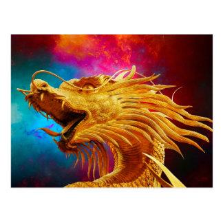 Fondo colorido de Tailandia del dragón de oro fres Tarjetas Postales