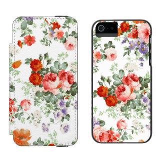 Fondo colorido del blanco del modelo de flores funda billetera para iPhone 5 watson