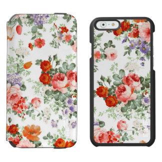 Fondo colorido del blanco del modelo de flores funda billetera para iPhone 6 watson