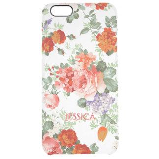 Fondo colorido del blanco del modelo de flores funda clearly™ deflector para iPhone 6 plus de unc