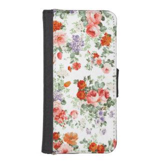 Fondo colorido del blanco del modelo de flores fundas billetera para teléfono