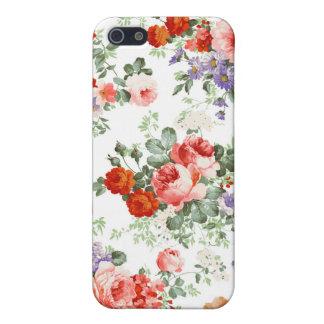 Fondo colorido del blanco del modelo de flores iPhone 5 carcasa