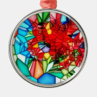 Fondo colorido del extracto del vitral adorno redondo plateado