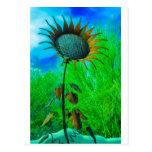 Fondo colorido del girasol del arte del metal tarjetas postales