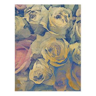 fondo colorido del vintage floral del arte postal