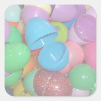 fondo colorido plástico del pastel de los huevos pegatina cuadrada