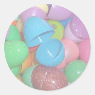 fondo colorido plástico del pastel de los huevos pegatina redonda