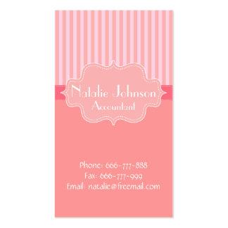 Fondo con clase y elegante rosado de las rayas plantilla de tarjeta de negocio