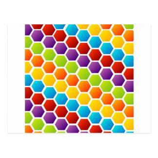 Fondo con hexágono colorido postales