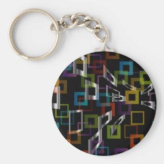 Fondo con los cuadrados coloridos llavero redondo tipo pin