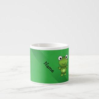 Fondo conocido personalizado del verde de la rana taza espresso