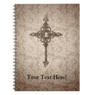 Fondo cristiano de la cruz w/Swirl de la voluta Libro De Apuntes Con Espiral