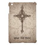 Fondo cristiano de la cruz w/Swirl de la voluta el iPad Mini Fundas