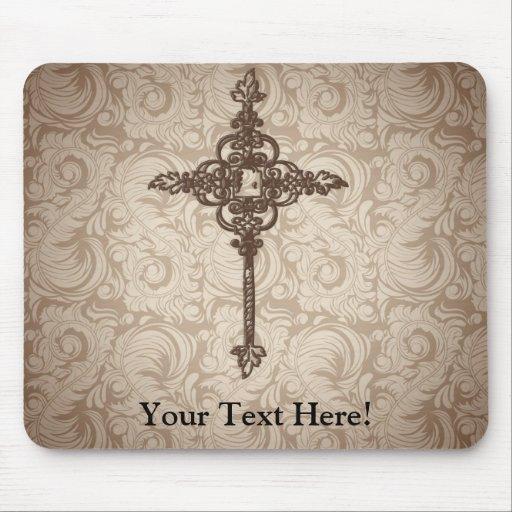 Fondo cristiano de la cruz w/Swirl de la voluta el Tapetes De Ratones