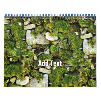 Fondo cubierto de musgo de las rocas calendario de pared