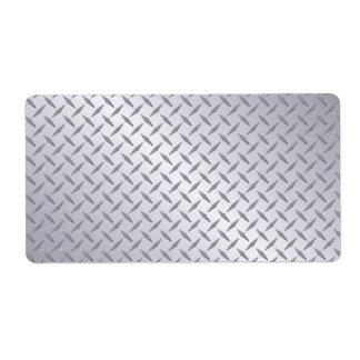 Fondo de acero brillante de la placa del diamante etiqueta de envío