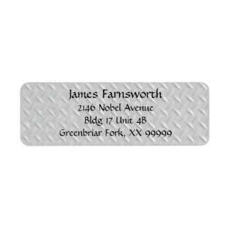 Fondo de acero de la placa del diamante etiqueta de remitente