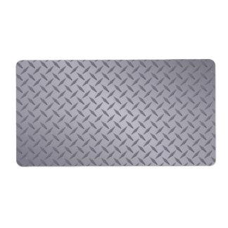Fondo de acero gris profundo de Diamondplate Etiqueta De Envío