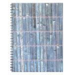 fondo de bambú del azul de la estera libros de apuntes con espiral