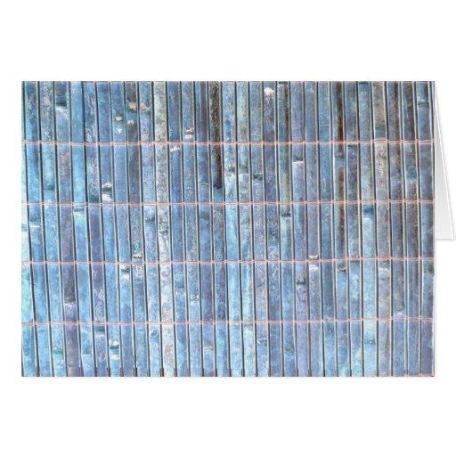 fondo de bambú del azul de la estera tarjeta