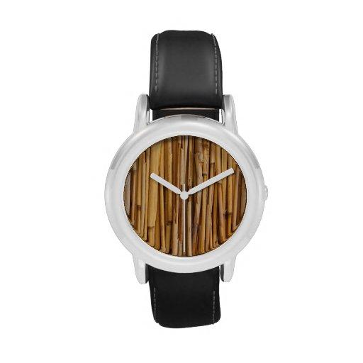 Fondo de bambú relojes de mano
