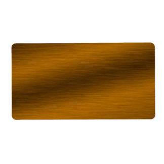 Fondo de bronce cepillado etiqueta de envío