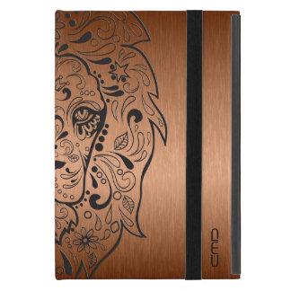 Fondo de cobre metálico del león del cráneo negro iPad mini carcasas