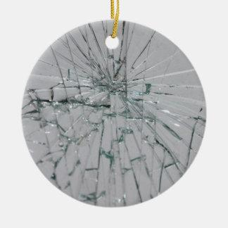 Fondo de cristal quebrado adorno navideño redondo de cerámica