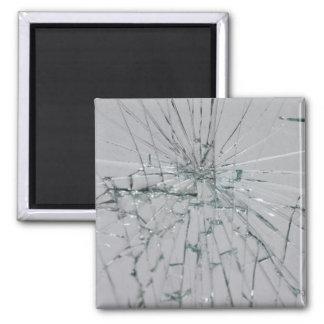 Fondo de cristal quebrado imán cuadrado