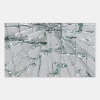Fondo de cristal quebrado pegatina rectangular