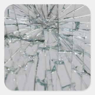 Fondo de cristal quebrado pegatina cuadrada