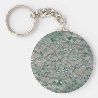 Fondo de cristal roto (falso) llavero redondo tipo pin