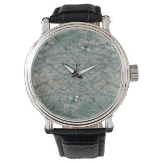 Fondo de cristal roto relojes