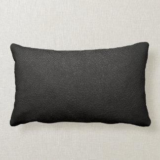 Fondo de cuero negro de la textura cojín