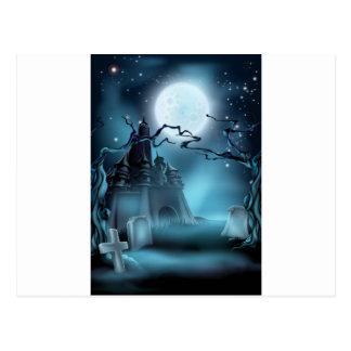 Fondo de Halloween del cementerio y del castillo Postal